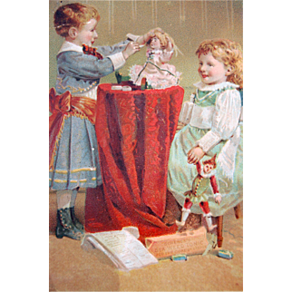 Old doll trade card children playing doctor German bisque doll and polichinelle doll  Dr. Schenck's Pulmonic Syrup Seaweed Tonic 1880's