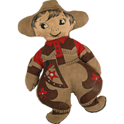 Vintage printed cloth western cowboy scout doll Cut and Sew By the Yard printed fabric character 10.5 inch soft stuffed homemade
