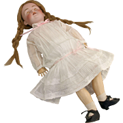 Antique German bisque doll Kestner 214 JDK 14  fabulous combination underclothes shoes with heels  lacy dress plaster pate HH  wig 24 inch