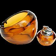 Vintage Viking Glass Orb Ashtray & Lighter Amber Glass nesting smoking set original foil label excellent tobacciana
