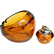 Vintage Viking Glass Orb Ashtray & Lighter Amber Glass nesting smoking set original foil label excellent tobacciana