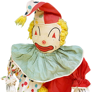 1950's clown doll cloth  Pajama PJ Laundry bag McCall's sewing pattern # 1972 button nose embroidered applique face yellow yarn hair cotton print cloth 28 inch