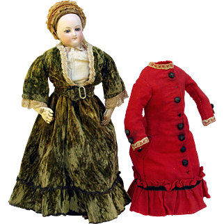 """Antique Bru French Fashion doll 13""""  round face swivel head kid body original clothes monogrammed unders straw bonnet 2 costumes Keystone boots cork pate HH wig"""