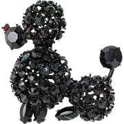 Vintage Capri black jewel POODLE rhinestone brooch  red eyes Japaned metal pin 1960's MCM poodle skirt costume jewelry unsigned
