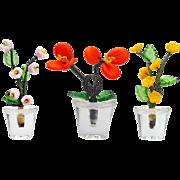 Vintage Czech glass 3 potted flowers dollhouse size plants Czechoslovakia glass flowers   2.5 inch