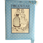 Folkwear Pattern 123 Austrian Dirndl blouse apron skirt bodice vintage UNCUT sewing pattern Victorian reenactment theatre plays costuming