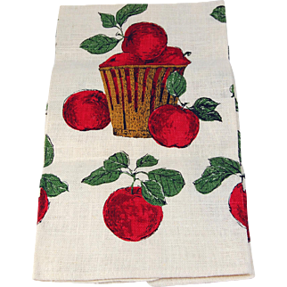 Vintage tea towel Apple Basket Kay Dee crisp linen tea kitchen towel minty factory fold with foil label unused fall red apple harvest table green leaf