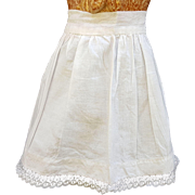 Vintage doll petticoat slip doll whites linen cotton lace handsewn milkglass button  8.5 length  10.75 waist  Petticoat B