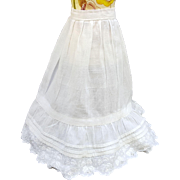 Vintage lady doll long slip petticoat scalloped eyelet lace and pintucks doll whites 12 inch length  10 inch waist Petticoat-C