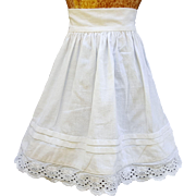 Vintage doll petticoat slip doll whites eyelet lace pin tucks  10 inch length 10.5 inch waist white milk glass button  Petticoat-D