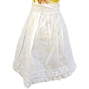 Vintage doll petticoat slip pretty lace hem  9.5 inch length  10 inch waist MOP button cotton linen doll whites Petticoat-H