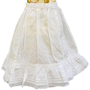 Old vintage doll petticoat slip doll pintucks lace and braid trim MOP button length 9 inch 10.5 waist cotton doll whites Petticoat-J