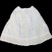 Vintage doll petticoat slip cotton linen doll whites MOP button eyelet lace hem  10 inch length 11.5 waist Petticoat-K