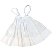 Vintage doll pinafore petticoat sheer doll whites length 9.5  waist 11.5 inch MOP buttons Petticoat-L