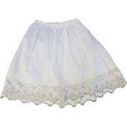 Vintage doll petticoat slip cotton doll whites lacy hem fixed waist elastic casing  11 inch length 12.5 waist  Petticoat-M