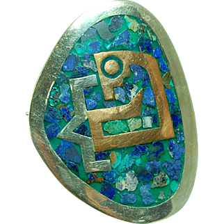 Taxco turquoise lapis mosaic sterling silver & copper Metales Casados brooch pendant Taxco Mexico