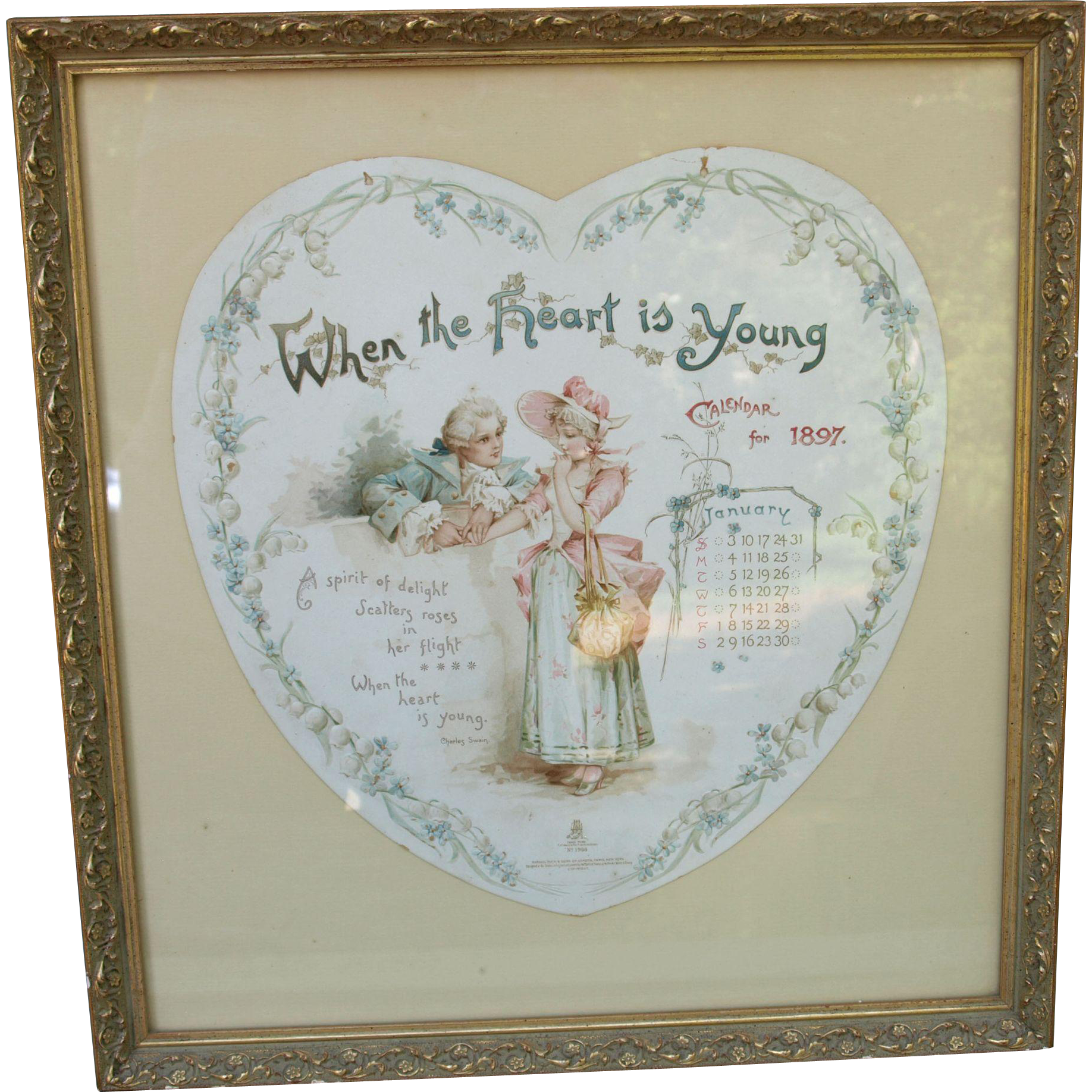 Framed 1897 Frances Brundage original Valentine Calendar When The Heart Is Young  Raphael Tuck print page January 1897 framed under glass