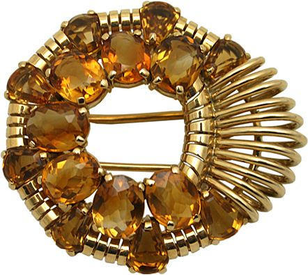 Citrine and Gold Custom Made Broch