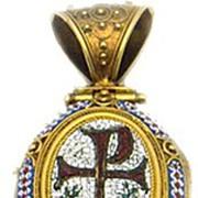 "18kt Gold Micro Mosaic Locket Locket ""Chi-Rho"""
