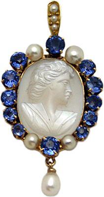 14 karat Gold Sapphire, Moonstone and Pearl Pendant
