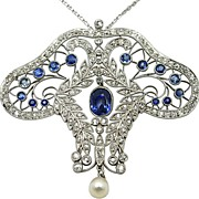 Platinum, Sapphire and Diamond Edwardian Pendant