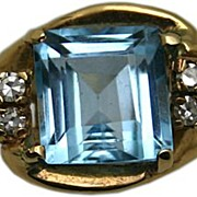 14Karat Yellow-Gold Blue Topaz and Diamond Ring