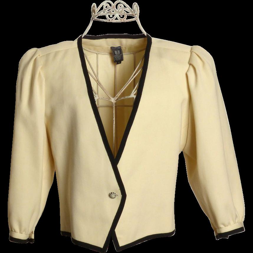Circa 1980s Emanuel Ungaro Cream and Black Jacket