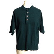 Circa 1950s Forest Green Short Sleeve Cashmere Sweater