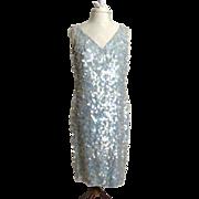 Circa 1960s Anita Modes Blue Sequinned Sheath Dress