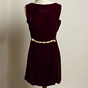 Circa 1950s Suzy Perette Dark Red Velvet Dress