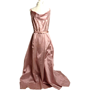 Circa 1940s Rose Pink Silk Shantung Belted Gown