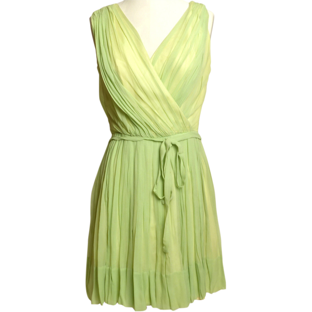 Circa 1960s Lilli Diamond  Pale Green Silk Grecian-Style Dress