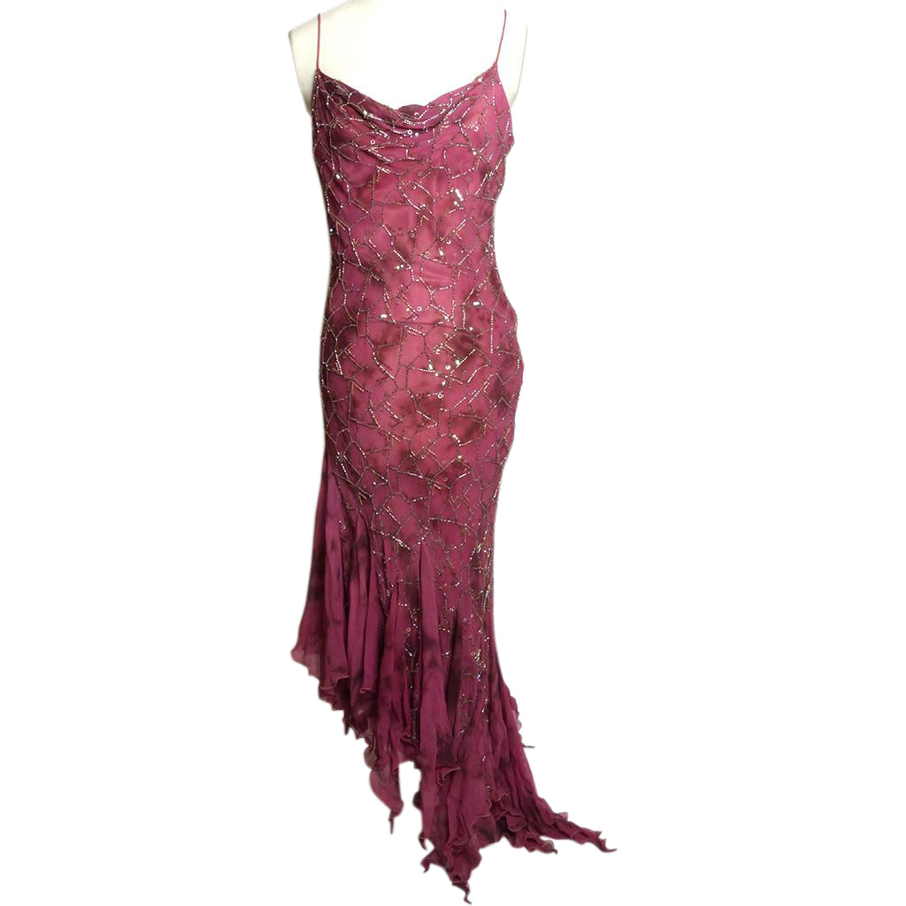 Circa 1990s Dolce Jovani Wine-Colored Silk Beaded Gown