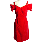 Circa 1980s J. Reynolds Red Velvet Cha-Cha Dress with Gold Trim
