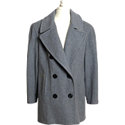 Circa 1980s Mackintosh of New England Grey 100% Wool Double-Breasted Coat