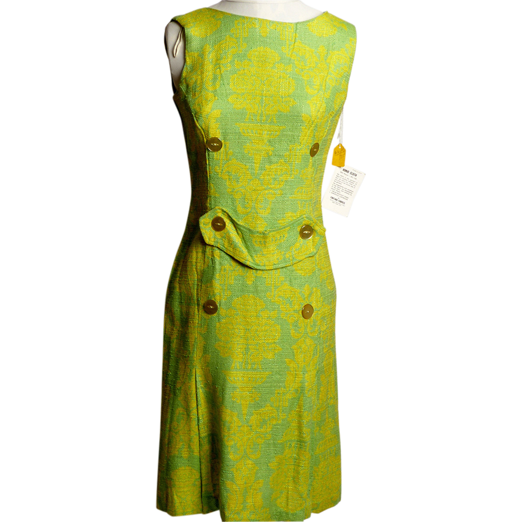 Circa 1960s Honjo Cloth Lime Green and Blue Dress