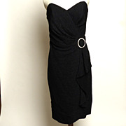 Circa 1970s BB Collections Black Dress with Rhinestone Buckle