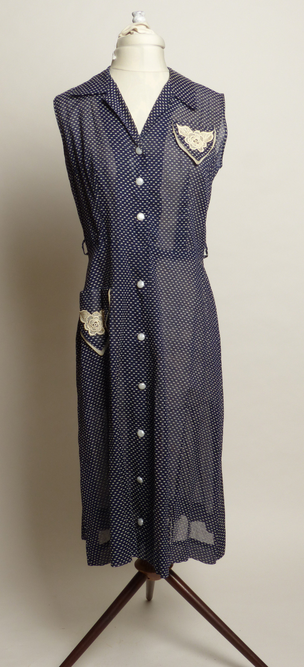 Circa 1950s Navy Blue & White Polka Dot Swiss Day Dress