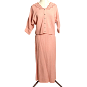 "Circa 1950s Jernat Pale Pink Wool Sweater/Skirt Set - ""Zip-off"" Hem!!"