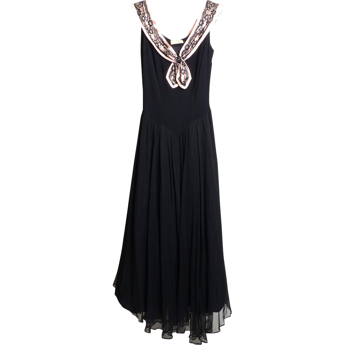 Circa 1950s Nathan Strong Basque Bodice Evening Dress