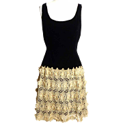 Circa 1950 Black Silk Velvet Dress with Crocheted Skirt