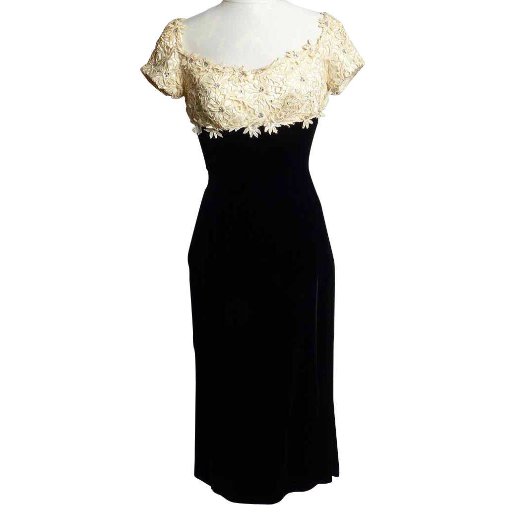 Circa 1950s Don Miquel of California Velvet Gown with Floral Lace and Rhinestone Applique Top