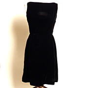 Circa Early 1960s Jay Herbert California Little Black Velvet Dress