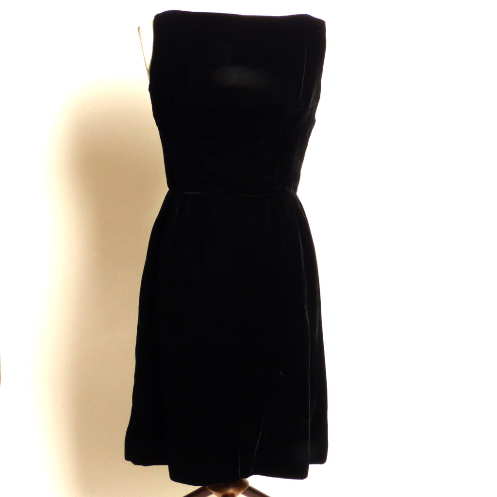 Circa Early 1960s Jay Herbert California Little Black Velvet Dress