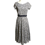 Circa 1950s Grey and White Cotton Eyelet Dress