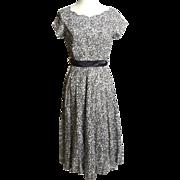 Circa 1950s Grey and White Cotton Eyelet Dress