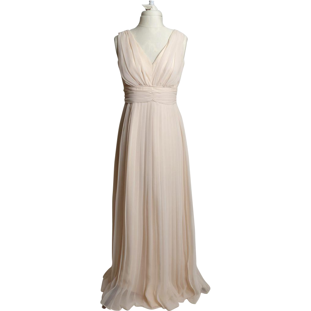 Circa 1970s Cream-Colored Plunge Gown