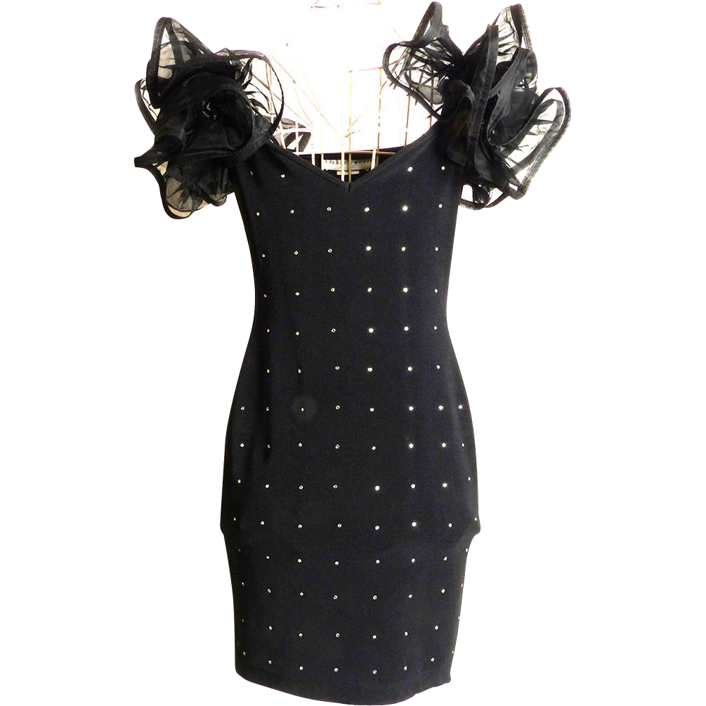 Circa 1980s Lillie Rubin Little Black Rhinestone Stretch Dress