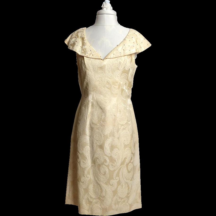 Late 1950s/Early 1960s Lilli Diamond of California Cream Ivory Silk Brocade Dress