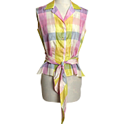 Circa 1950s Alex Colman Plaid Pastel Tie Blouse/Top